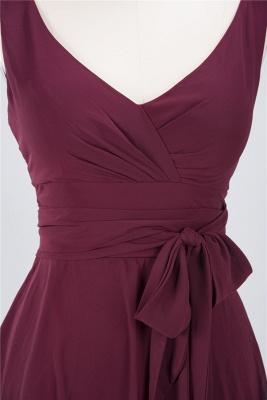 Chiffon A-Line Straps V-Neck Sleeveless Ruffles Short Bridesmaid Dress with Bow Sash_3