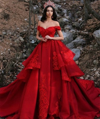 Charming Ball Gown Appliques Off-the-Shoulder Sleeveless Prom Dress_3