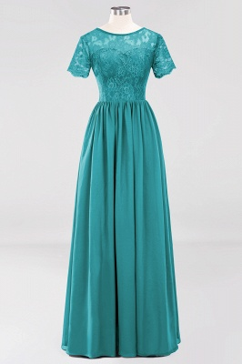 A-line Chiffon Lace Jewel Short-Sleeves Floor-length Bridesmaid Dress_31