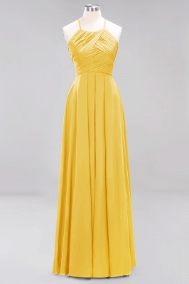 A-Line Chiffon Halter Ruffles Floor-Length Bridesmaid Dress_16