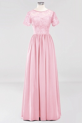 A-line Chiffon Lace Jewel Short-Sleeves Floor-length Bridesmaid Dress_4