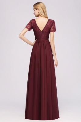A-line Chiffon Lace Jewel Short-Sleeves Floor-length Bridesmaid Dress_36