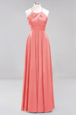 A-Line Chiffon Halter Ruffles Floor-Length Bridesmaid Dress_7