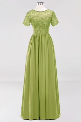 A-line Chiffon Lace Jewel Short-Sleeves Floor-length Bridesmaid Dress_32