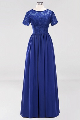 A-line Chiffon Lace Jewel Short-Sleeves Floor-length Bridesmaid Dress_25