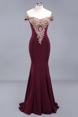 Charming Off The Shoulder Bridesmaid Dresses Mermaid Lace Appliques Sexy Evening Dress_2