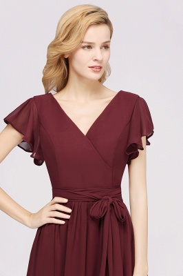 elegant A-line Chiffon V-Neck Short-Sleeves Floor-Length Bridesmaid Dresses with Bow Sash_6