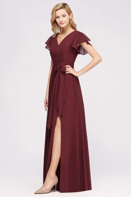 elegant A-line Chiffon V-Neck Short-Sleeves Floor-Length Bridesmaid Dresses with Bow Sash_4