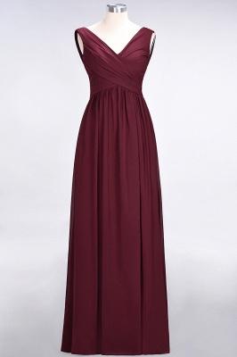 Chiffon A-Line Straps V-Neck Sleeveless Long Bridesmaid Dress with Ruffles_8