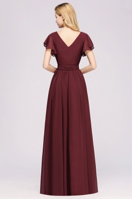 elegant A-line Chiffon V-Neck Short-Sleeves Floor-Length Bridesmaid Dresses with Bow Sash_2
