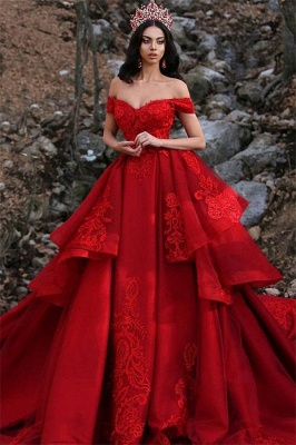 Charming Ball Gown Appliques Off-the-Shoulder Sleeveless Prom Dress_2