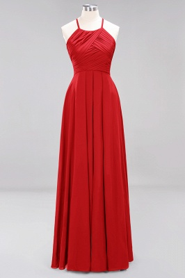 A-Line Chiffon Halter Ruffles Floor-Length Bridesmaid Dress_8
