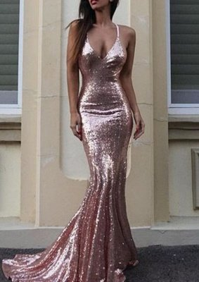 Gorgeous Sequins V-Neck Mermaid Sequins Prom Dress_1