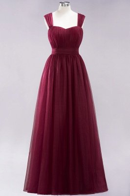 A-ligne bretelles en mousseline de soie sweetheart manches robes de demoiselle d'honneur -parole longueur avec des volants_3