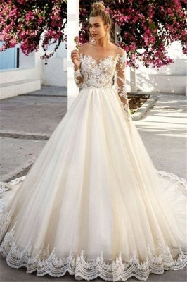 Unique Off-the-Shoulder A-Line Long Sleeves Appliques Wedding Dress