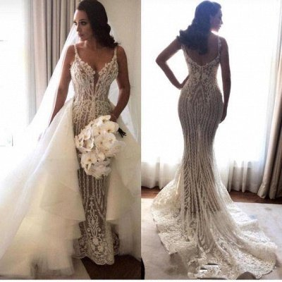 Elegant Spaghetti Straps Sleeveless Mermaid Appliques Wedding Dress
