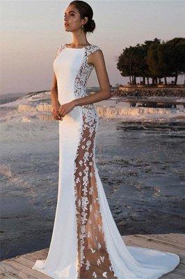 Bretelles élégantes sans manches autour du cou appliques robe de bal de sirène_1