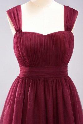 A-ligne bretelles en mousseline de soie sweetheart manches robes de demoiselle d'honneur -parole longueur avec des volants_6