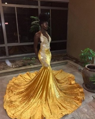 Elegant V-Neck Sleeveless Mermaid Appliques Yellow Prom Dress_1