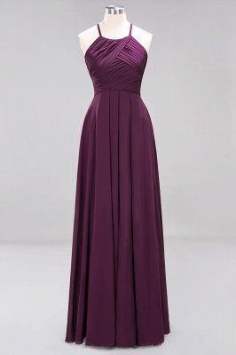 A-Line Chiffon Halter Ruffles Floor-Length Bridesmaid Dress_19