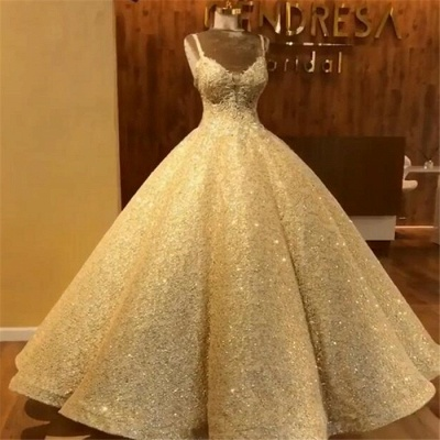 Elegant Straps Sequins Wedding Dresses | Lace Sleeveless Ball Bridal Gowns_3