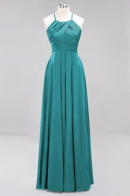A-Line Chiffon Halter Ruffles Floor-Length Bridesmaid Dress_31