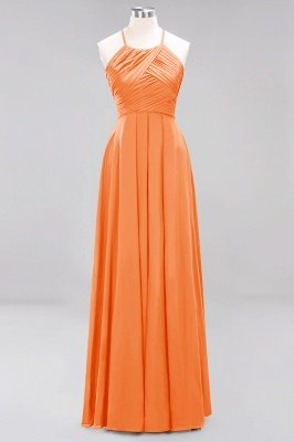 A-Line Chiffon Halter Ruffles Floor-Length Bridesmaid Dress_15