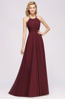 A-Line Chiffon Halter Ruffles Floor-Length Bridesmaid Dress_35