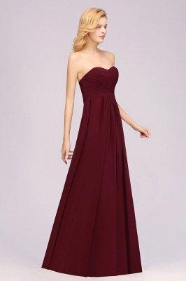 A-line Chiffon Sweetheart Strapless Ruffles Floor-length Bridesmaid Dress_4