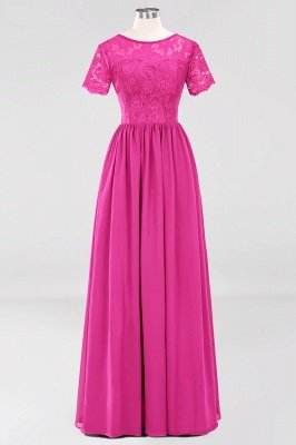 A-line Chiffon Lace Jewel Short-Sleeves Floor-length Bridesmaid Dress_9