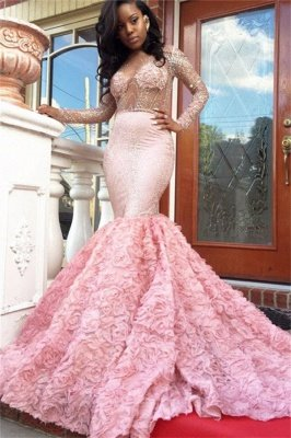 Sheer Tulle Beads Sequins Long Sleeve Prom Dresses | Mermaid Flowers Luxury Evening Gowns 2019