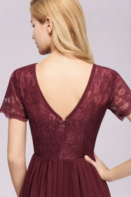 A-line Chiffon Lace Jewel Short-Sleeves Floor-length Bridesmaid Dress_39