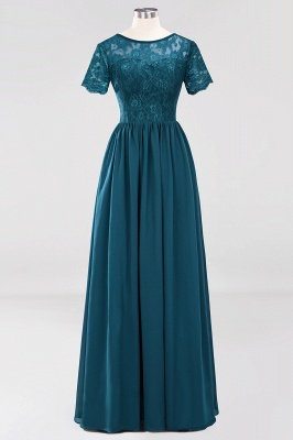 A-line Chiffon Lace Jewel Short-Sleeves Floor-length Bridesmaid Dress_26