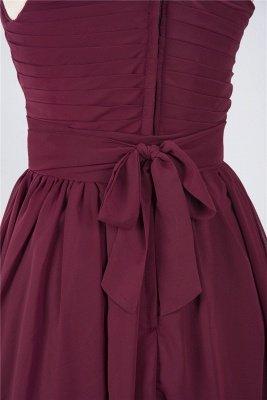 Chiffon A-Line One-Shoulder Sleeveless Short Bridesmaid Dress with Ruffles_5
