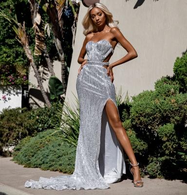 Charming Sweetheart Sleeveless Mermaid Front Split Prom Dress_5
