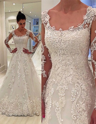 A-Line Appliques Long-Sleeves Square Neck Wedding Dress