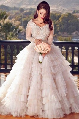 Charming Ball Gown Appliques Long-Sleeves Layers Wedding Dress