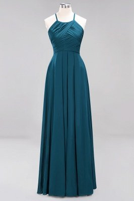 A-Line Chiffon Halter Ruffles Floor-Length Bridesmaid Dress_26