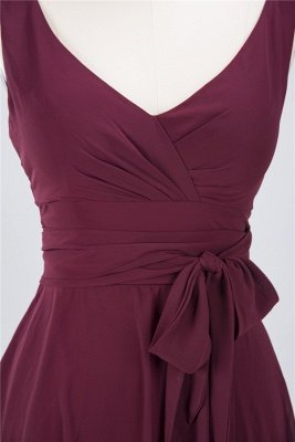 Chiffon A-Line Straps V-Neck Sleeveless Ruffles Short Bridesmaid Dress with Bow Sash_3
