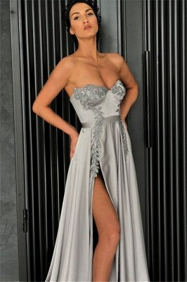 Stunning A-Line Strapless Sleeveless Front-Slipt Prom Dress_3