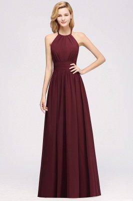 A-line Chiffon Appliques Halter Sleeveless Floor-Length Bridesmaid Dresses with Ruffles_1