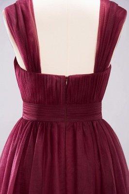 A-ligne bretelles en mousseline de soie sweetheart manches robes de demoiselle d'honneur -parole longueur avec des volants_8