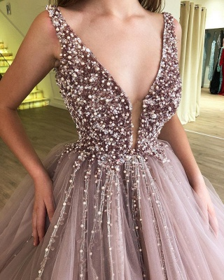 Stunning Ball Gown Tulle Beading Straps Sleeveless Prom Dress BC0794_3