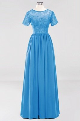 A-line Chiffon Lace Jewel Short-Sleeves Floor-length Bridesmaid Dress_24