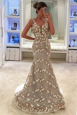 Charming Appliques Mermaid Sleeveless Straps V-Neck Floor-Length Prom Dress