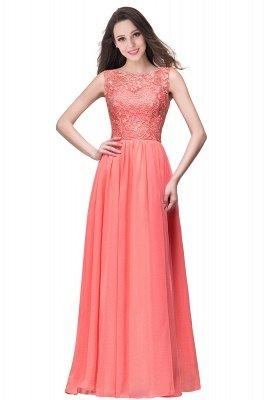 ELYSE | A-line Sleeveless Crew Floor-length Lace Top Chiffon Prom Dresses_10