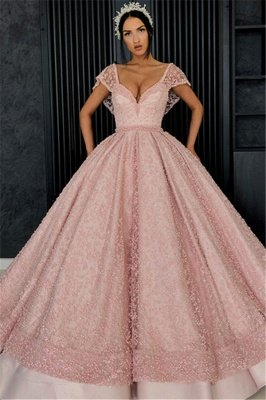 Stunning Ball Gown Beading V-Neck Cap-Sleeves Prom Dress