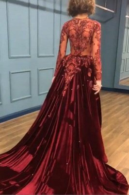 Sparkly Beading Burgundy Velvet Long Sleeves Prom Dresses with Appliques