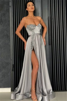 Stunning A-Line Strapless Sleeveless Front-Slipt Prom Dress_1