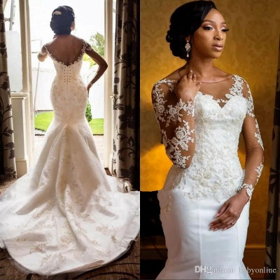 Charming Long Sleeves Appliques Mermaid Round Neck Wedding Dress